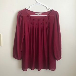 LOFT Burgundy Blouse M